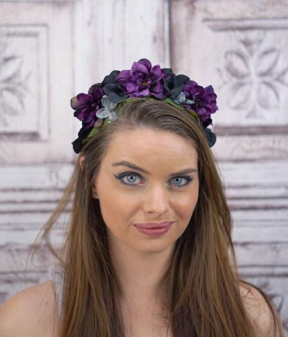 Black Flower Crown Gothic Flower Crown Black Flower: Gothic Floral Headpiece Purple And Black Flower Crown