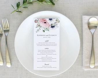 Watercolor Floral Wedding Menus, Boho Floral Menu Cards, Rustic Wedding Menus, Floral Rehearsal Dinner Menu, Printed Wedding Menu Cards