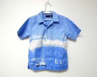 SEASIDE . boy's button down . printed shirt . size 5T