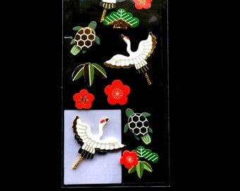 Japanese Style Craft Stickers - Traditional Japanese Stickers - Crane - Turtle - Pine - Plum Blossoms - Bamboo Leaf  S12