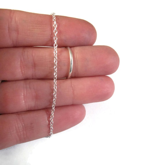 NEW Silver Cable Chain, Thin .925 Sterling Silver 1.8mm Smooth Cable Chain, By The Foot, Everyday Necklace Chain (876s)