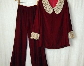 Velvet Dress + Velvet Pants 1960s Pantsuit 2 Piece Set Mini Dress + Flared Pants Two Piece Outfit