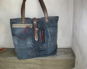 Denim Tote Bag, Denim Hobo Bag, Denim Side Bag, Recycled Handbag, Shoulder Bag, Vintage Denim Bag, Jeans Handbag, Boho Bag, Borse In Jeans