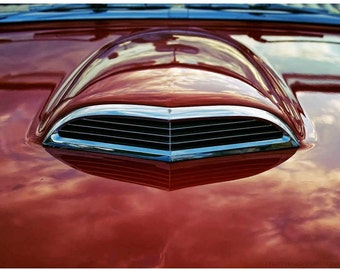 Classic Car Photo Art - Cherry Red Thunderbird Hood Scoop 8x12 Automobile Photograph - Retro Americana All Art - Limited Edition Ford Art