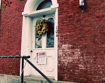 Barbershop Door Architecture Photo - 5x7 Autumn Main Street Americana Art - White Arched Wooden Door Photo - Barbershop Pole on Brick Photo