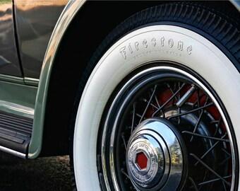 Packard Detail Art Photograph - 7x10 Classic Car Photo - 1932 Green Packard 900 Photo Art - Vintage Car Wheel Well Photograph - Whitewalls