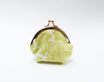 Coin purse, lime green and white paisley design, cotton purse
