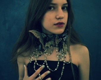 Love and Loss Collar - Leather Statement Collar of Antique Bridal and Mourning Lace Butterflies with Vintage Pearls and Crystals