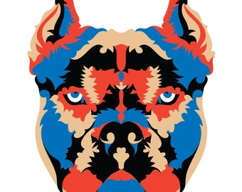 Pit bull. Cross Stitch pattern, Digital Download PDF. Geometric Pitfall design made with color patches. Cool and Modern