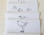Bird Craft 6 Designs - hand printed onto white cotton for use in your craft projects embroidery, patchwork quilting, dressmaking etc