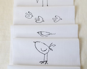 Craft Designs pack 6 different Bird designs - hand printed onto white cotton for embroidery, patchwork quilting, dressmaking