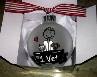 Veterinarian Gift, Personalized Vet Christmas Ornament, Animal Doctor, Vet Tech, Assistant, Pet Care, Male or Female