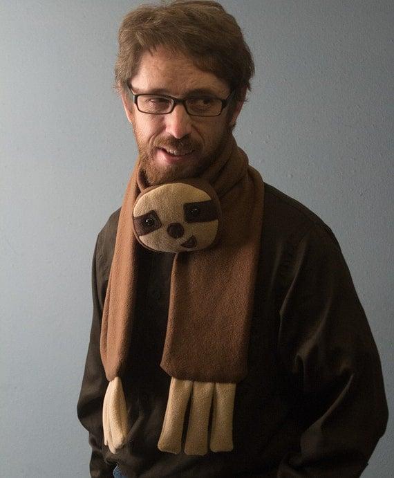 Fleece Sloth Animal Scarf