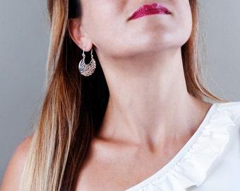 Sterling Silver Filigree Earrings, Silver Lace Earrings, Delicate Earrings, Victorian Earrings, Chunky Earrings, Dangle Earrings Silver