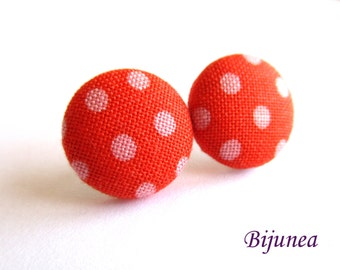 Red Polka dot earrings- Red polka dot stud earrings - Red polka dot posts - Polka dot studs - Polka dot post earrings sf1294
