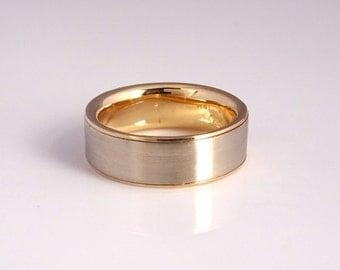 Gold Sleeve Wedding Band Handmade from Recycled Gold, 2 Tone Wedding Ring, Modern Wedding Band