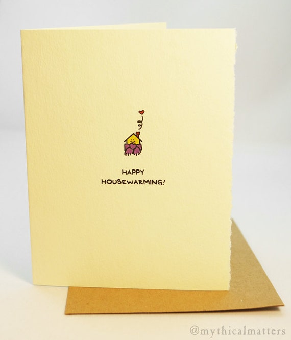 Happy Housewarming! Greeting card cute adorable recycled paper made in Canada snail mail stationery house scarf home brick nest neighbour