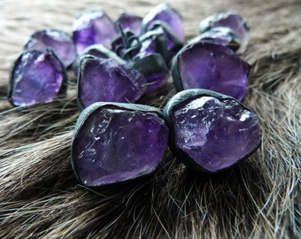 SALE Amethyst stud earrings | Raw amethyst studs | Amethyst crystal earrings | Rough amethyst stone earrings | Amethyst post earrings