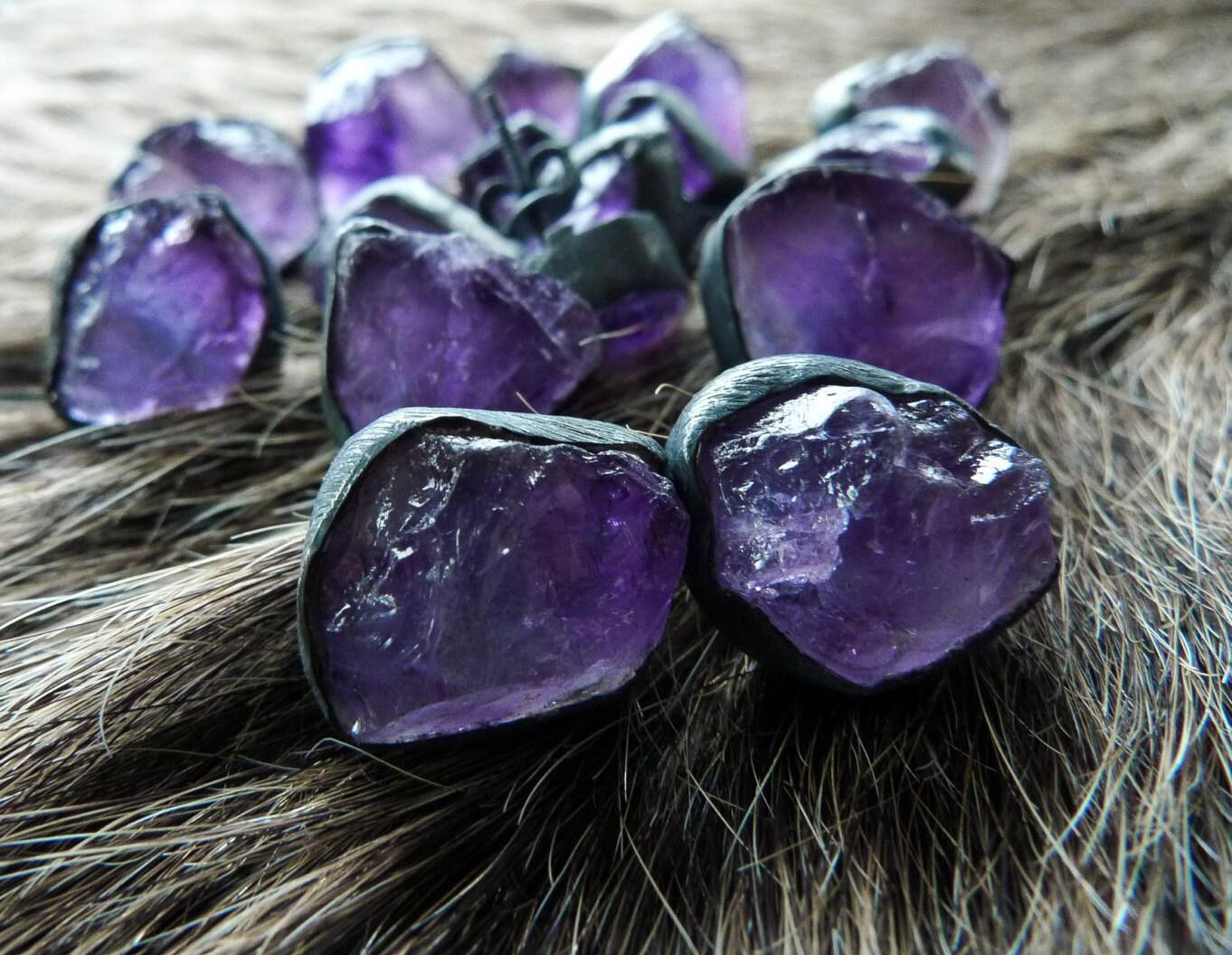 amethyst stud earrings raw amethyst studs amethyst by