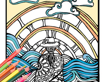 Beach Girl Coloring Page - Digital Download Beach Art - A Colorful World Suf & Sun by Alexine and Lori Goldwag - Beach Adult Coloring Book