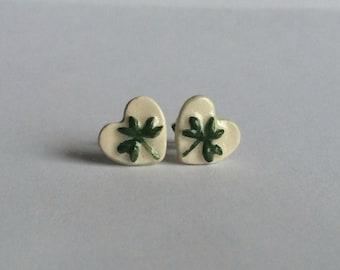 Shamrock Heart Ceramic Stud earrings