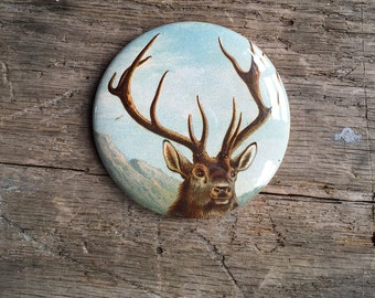 deer. pocket mirror. gift. stag. antlers. vintage postcard. coworker gift. repurposed gift. Valentine's gift. Mother's Day gift.
