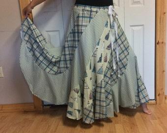 Long Maxi Plus Size Sweep Skirt/Plaid/Striped/Green/Hippie/Bohemian/Cotton/Vintage Victorian Dress Print/Long Skirts for Women/Size 2X
