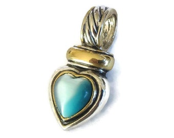 Blue Cats Eye Glass Heart Slide or Pendant with Silver & Gold Tone Finish Vintage