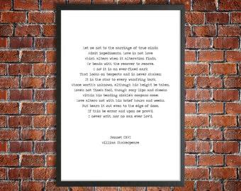 William Shakespeare Digital Download Instant Love Poem 'Sonnet CXVI' Romantic Gift Literature Printable 'Marraige of True Minds' Poster