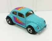 Hot Wheel Series VW Bug, Turquoise 1989 VW Bug with Stripes Loose Near Mint