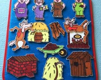 The 3 Little Pigs Felt Board Story . Flannel Board Set.  Teacher Resources. Storytelling Fun.