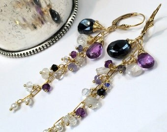 Amethyst Dangle Earrings Wire Wrap Gold Fill Moonstone Black Spinel Chain Dangle Minimalist Jewelry February Birthstone Boho Chic Gemstone