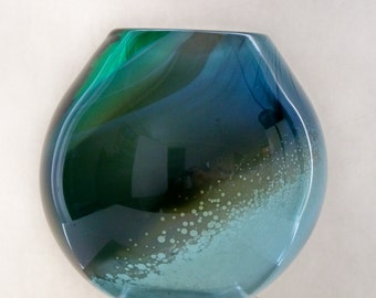 Hand Blown Glass One Of A Kind Vase with  Aqua Silver Blue, Amber and Green: