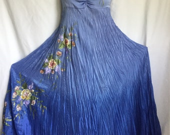 Hand painted blue silk dress evening wedding roses flowers READY TO SHIP