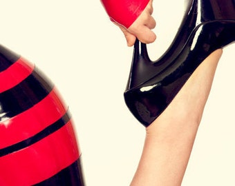 Lady Lucie Latex small bow fingerless gloves / mitts (choice of colours)