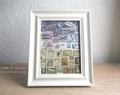 Framed, Postage Stamp Wall Art, Original Upcycled Collage Landscape, Eclectic Boho World Travel Gift, Recycled Philately Snail Mail Art Gift