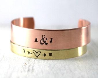 Personalized Bracelet, Valentines Jewelry, Copper Cuff, Brass Cuff, Custom Bracelet, Sweetheart Bracelet, Initials, Personalized Cuff