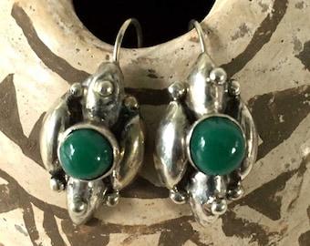 Vintage Green Onyx Mexican Earrings Sterling Silver | Hecho en Mexico | Boho Southwest Santa Fe Style | Drop Dangle Earrings Pierced Ears