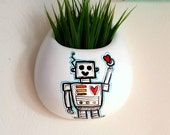 Hanging Wall Planter Ceramic Painted Robot Kids Room Decor White Round Wall Pocket Hand painted Modern Geekery - MADE TO ORDER