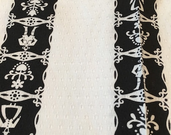 Scandinavian Folk Fabric - Country Black and White Fabric - Hearts Flowers Bavarian People - Black White Stripe - Kitschy - Appx 4.5 Yards