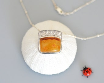 Amber the Princess - Baltic Amber Sterling Silver Pendant Necklace, authentic, everyday, natural gemstone, rough, bezel set, silversmithing