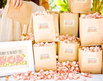 Ready to Pop - Personalized Popcorn Labels, Baby Shower Favor, Mother to be
