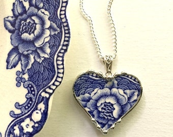 Recycled china: broken china jewelry necklace heart pendant beautiful antique blue floral English transferware