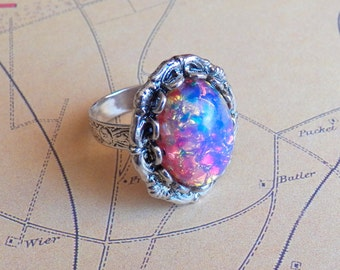When I Fall In Love, It Will Be Forever - Ring, Vintage Pink Opal Glass Silver Ring, Silver Plated Adjustable Ring, Jewelry by HoneyNest