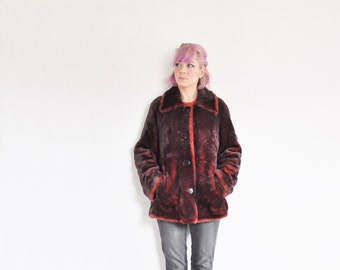oxblood faux fur jacket . 1990 grunge burgundy coat .medium .sale