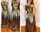 Liquid Gold Grecian One Shoulder Red Carpet Maxi Gown Academy Awards Oscars