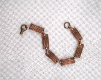Vintage Copper Link Bracelet 60s Jewelry Retro Moderne Design