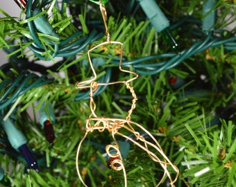Golden Snowman Ornament - handmade gold wire snowman in hat with scarf ornament