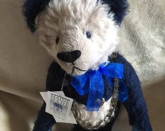 Ching-Ching Blue and white mohair Panda, September birthstone bear ,artist hand made OOAK