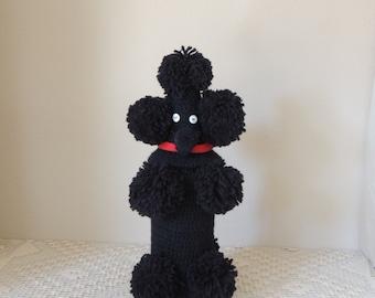 Hand Crocheted Black Poodle Liquor Bottle Holder. Vintage Hand Made Black Dog Beer Bottle Cover. Black Wine Bottle Cozy.